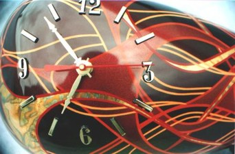 clock with flames